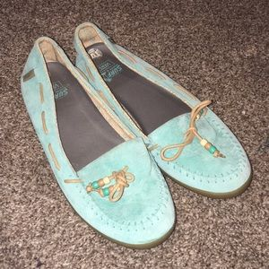 Vans Alpaca Mint blue Moc Toe Suede loafers